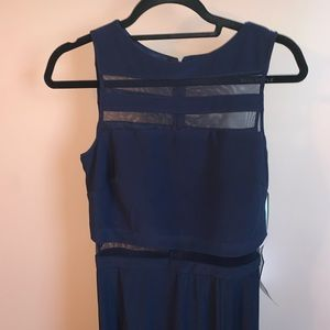 NEW Navy Mesh Long Prom/Formal Dress!!